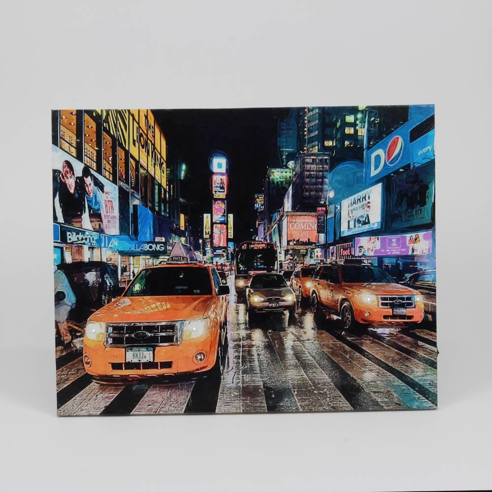 Tela Decorativa Taxi no Centro da Cidade com Led - Prestige - 50x40 cm