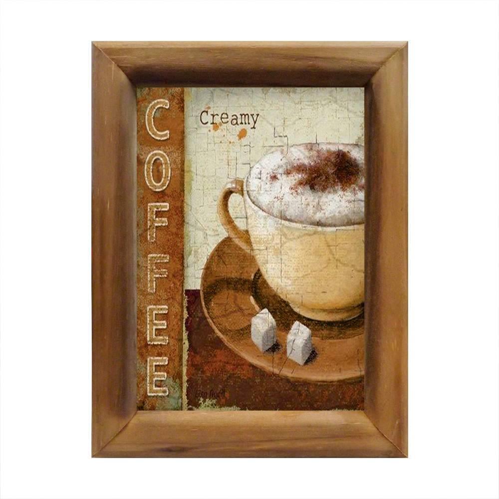 Quadro Café Cremoso Bege em Madeira - 26x20 cm