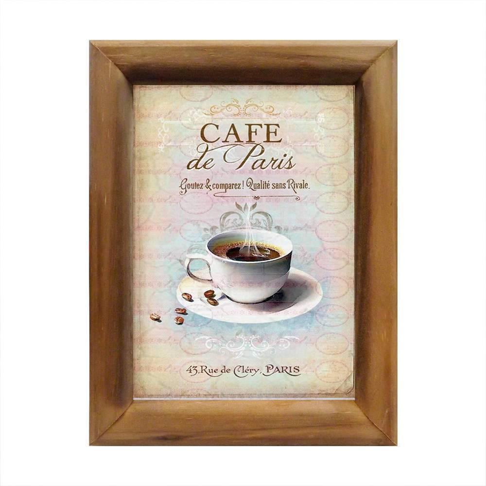 Quadro Café de Paris Vintage em Madeira - 26x20 cm