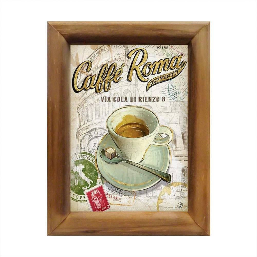 Quadro Café de Roma em Madeira - 26x20 cm