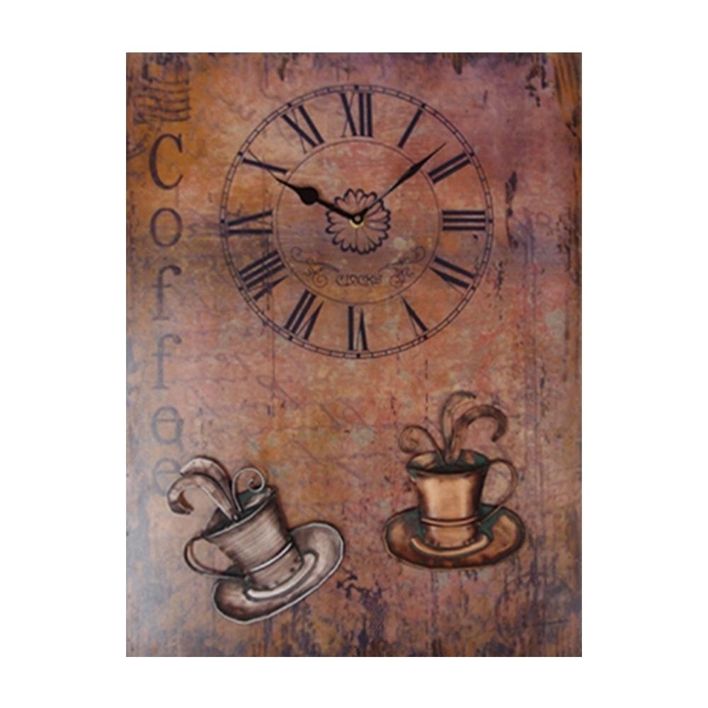 Tela Café/Coffee - com Relógio - Sépia em Madeira - 54x40 cm