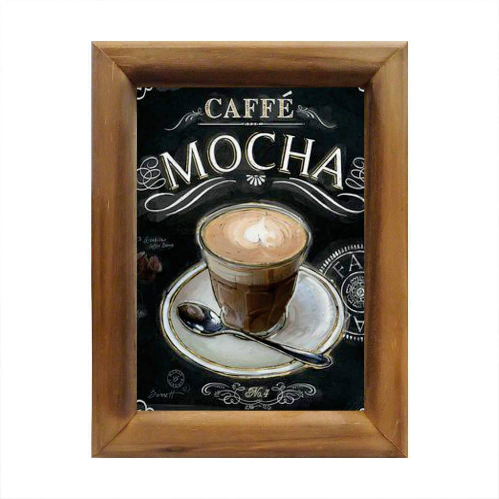 Quadro Caffé Mocha Fundo Preto em Madeira - 26x20 cm