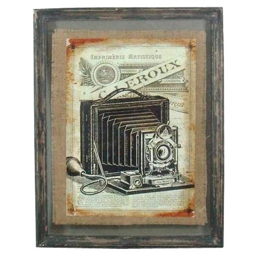 Quadro Câmera Fotográfica Antiga em Madeira - 71x56 cm