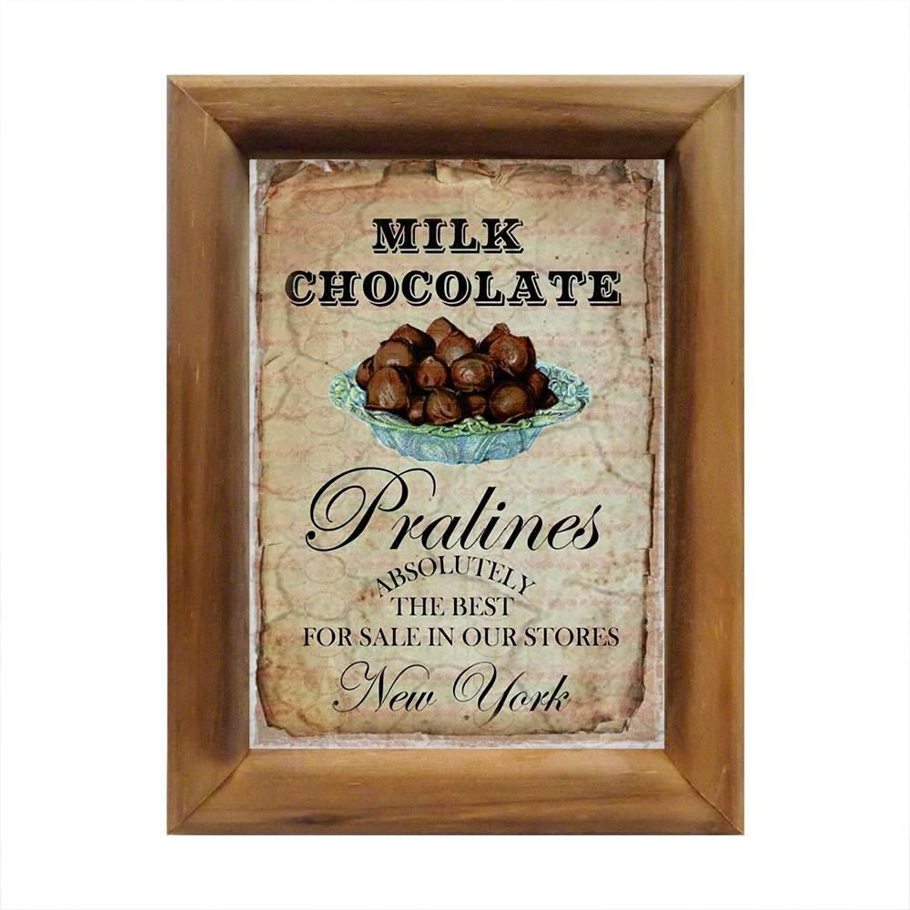 Quadro Campanha Chocolate ao Leite em Madeira - 26x20 cm