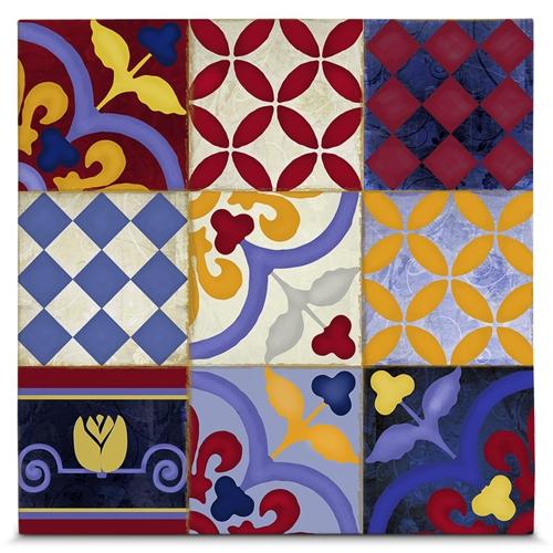 Quadro em Canvas Arabescos Florais - 55x55 cm