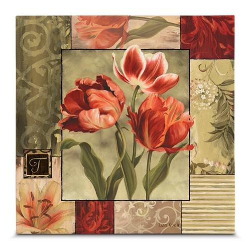 Quadro em Canvas Classic Flowers - 45x45 cm
