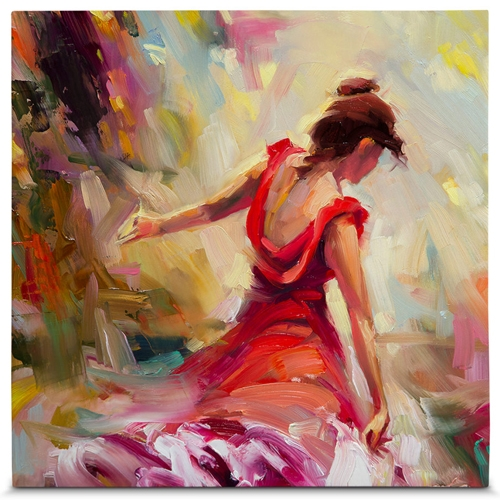 Quadro em Canvas Dancer Red Dress - 55x55 cm