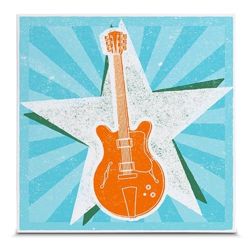 Quadro em Canvas Guitarra Vintage Style - 35x35 cm