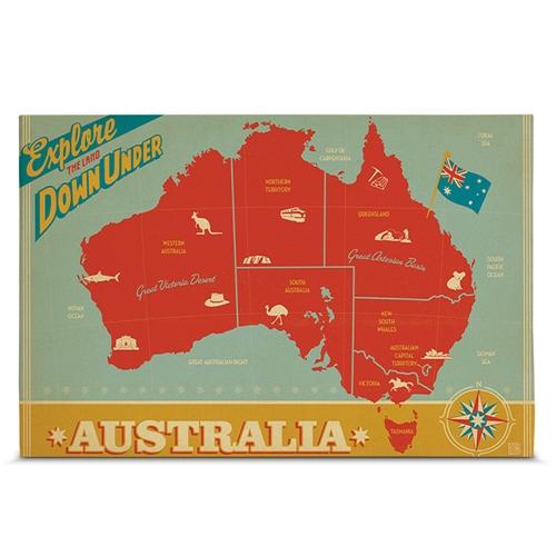 Quadro em Canvas Mapa Austrália - 60x40 cm