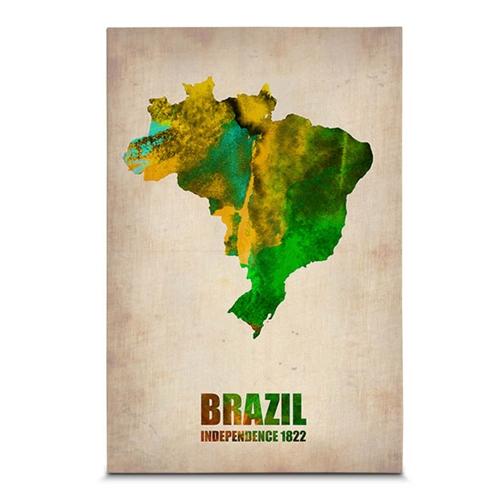 Quadro em Canvas Mapa do Brasil - Aquarela - 60x40 cm