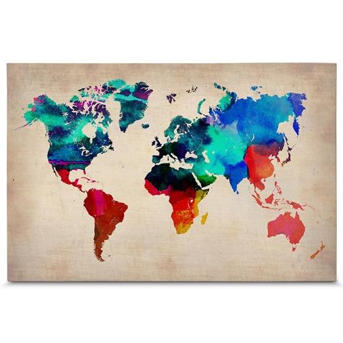 Quadro em Canvas Mapa do Mundo - Aquarela - 90x60 cm