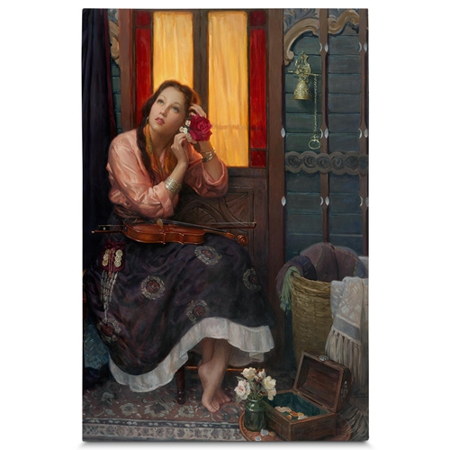 Quadro em Canvas Mulher com Violino - 90x60 cm