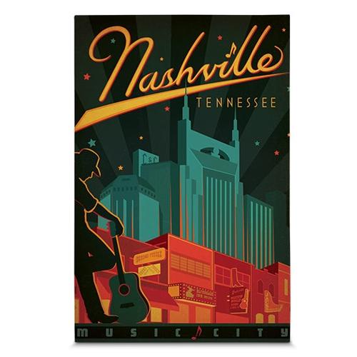 Quadro em Canvas Nashville - Cidade da Música - 45x30 cm