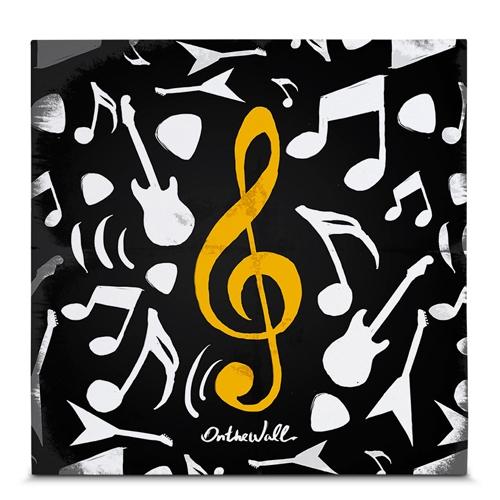 Quadro em Canvas Notas Musicais - 45x45 cm