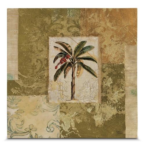 Quadro em Canvas Palmas Tropicais Vintage - 45x45 cm