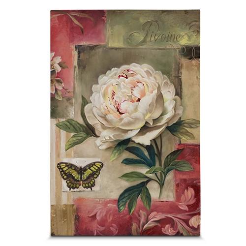 Quadro em Canvas Rosa e Borboleta - 60x40 cm