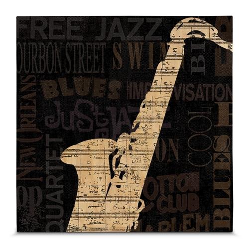 Quadro em Canvas Saxofone - Jazz - 55x55 cm