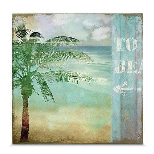 Quadro em Canvas Tropical Beach  - 35x35 cm