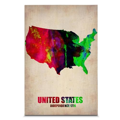 Quadro em Canvas United States - Aquarela - 60x40 cm