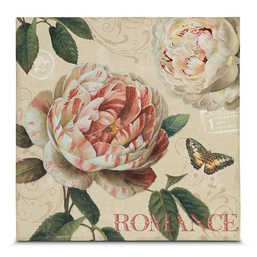 Quadro em Canvas Vintage Romance - Camélia - 45x45 cm