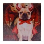 Quadro Cão Bulldog Francês Fantasiado de Diabinho c/ Leds nos Chifres em MDF - 40x40 cm