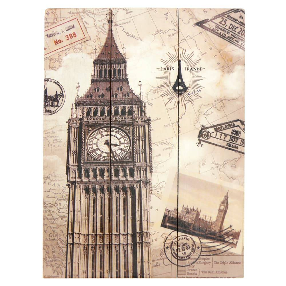 Placa Cartão Postal Big Ben Bege em Madeira - 40x30 cm