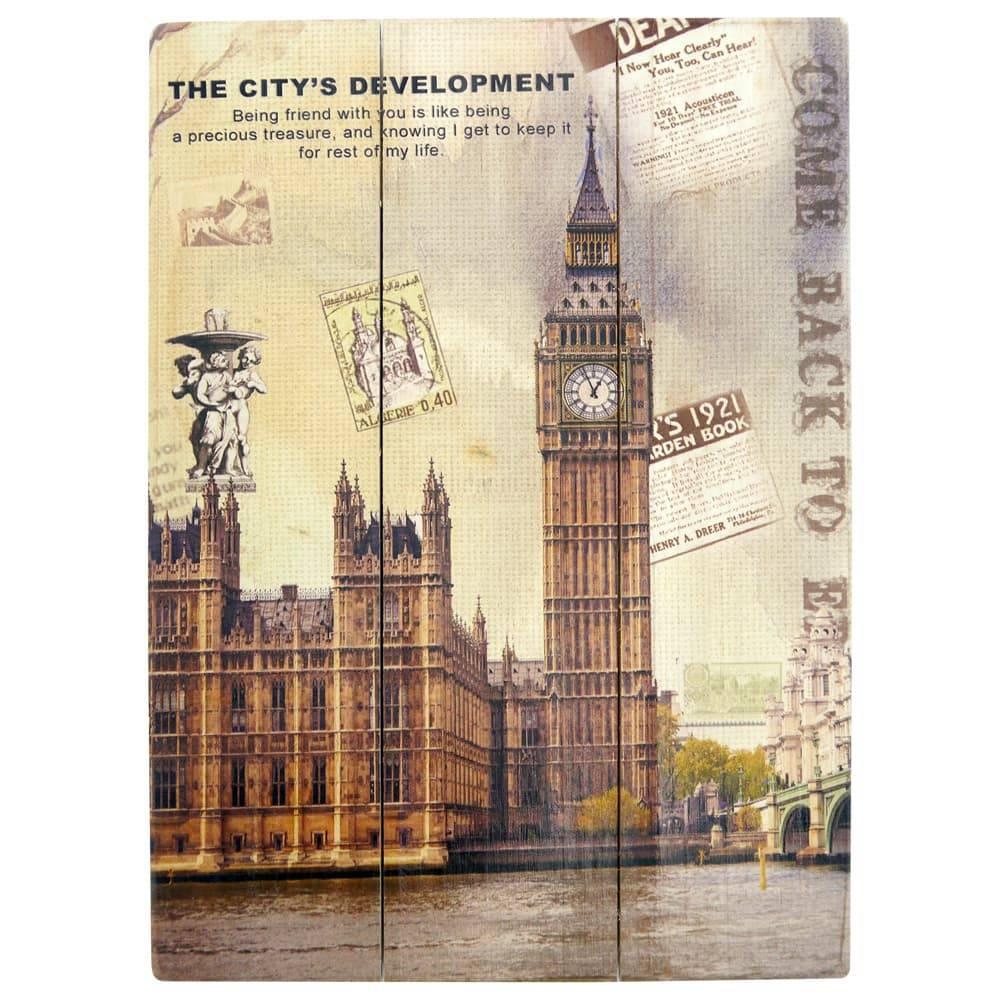 Placa Cartão Postal Big Ben em Madeira - 40x30 cm
