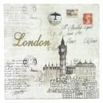 Placa Cartão Postal London Branco em Madeira - 24x24 cm