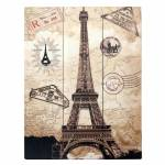 Placa Cartão Postal Paris Bege em Madeira - 40x30 cm