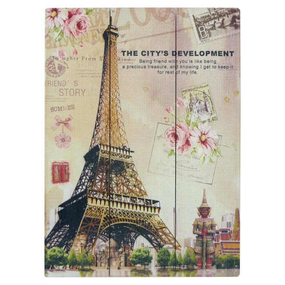 Placa Cartão Postal Torre Eiffel Colorido em Madeira - 40x30 cm