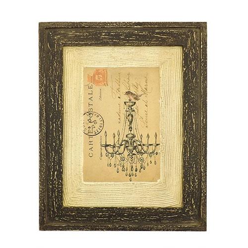 Quadro Carte Postale Lustre e Pássaro - Madeira Texturizada - 29x37 cm