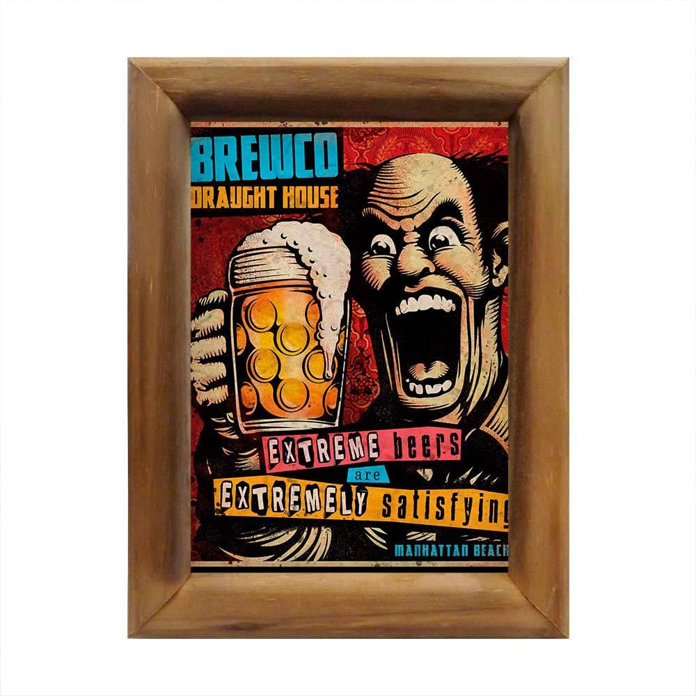 Quadro Cartoon Cervejas Extremas Multicolorido em Madeira - 26x20 cm