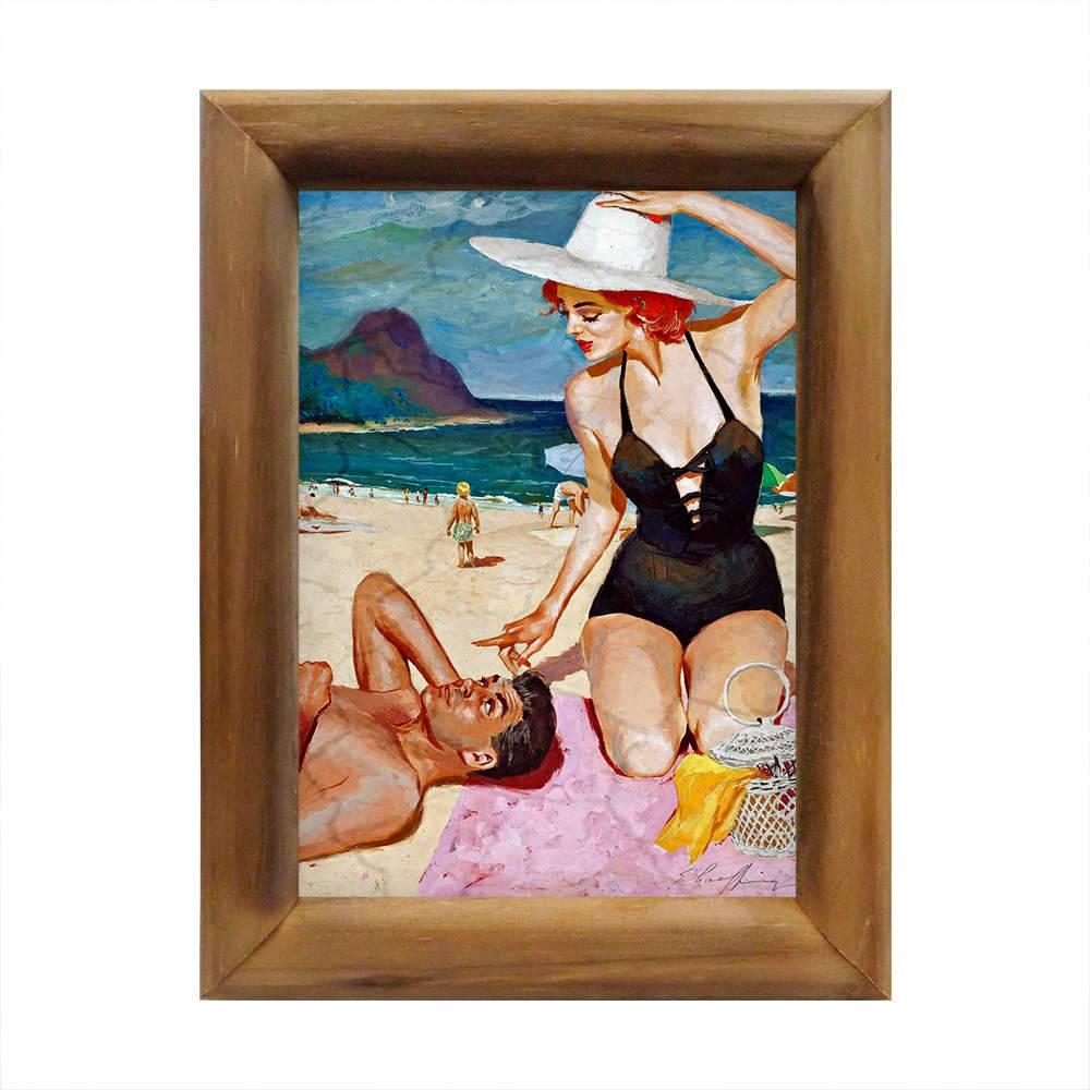 Quadro Casal na Areia da Praia em Madeira - 26x20 cm