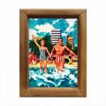 Quadro Casal Tomando Banho de Mar em Madeira - 26x20 cm