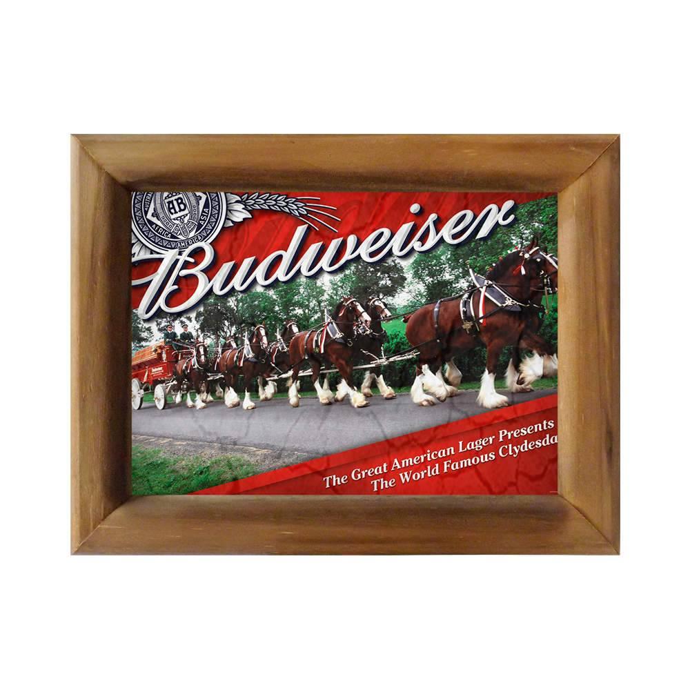Quadro Cavalaria Budweiser em Madeira - 26x20 cm