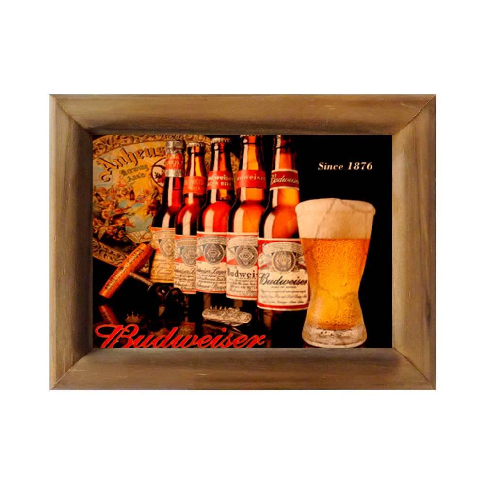 Quadro Cerveja Budweiser Desde 1876 em Madeira - 26x20 cm