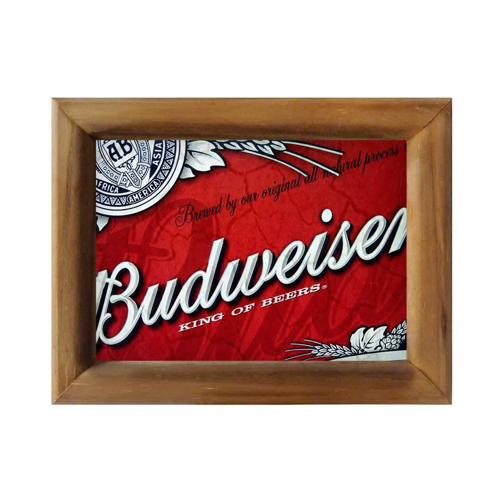 Quadro Cerveja Budweiser Vermelho/Branco em Madeira - 26x20 cm
