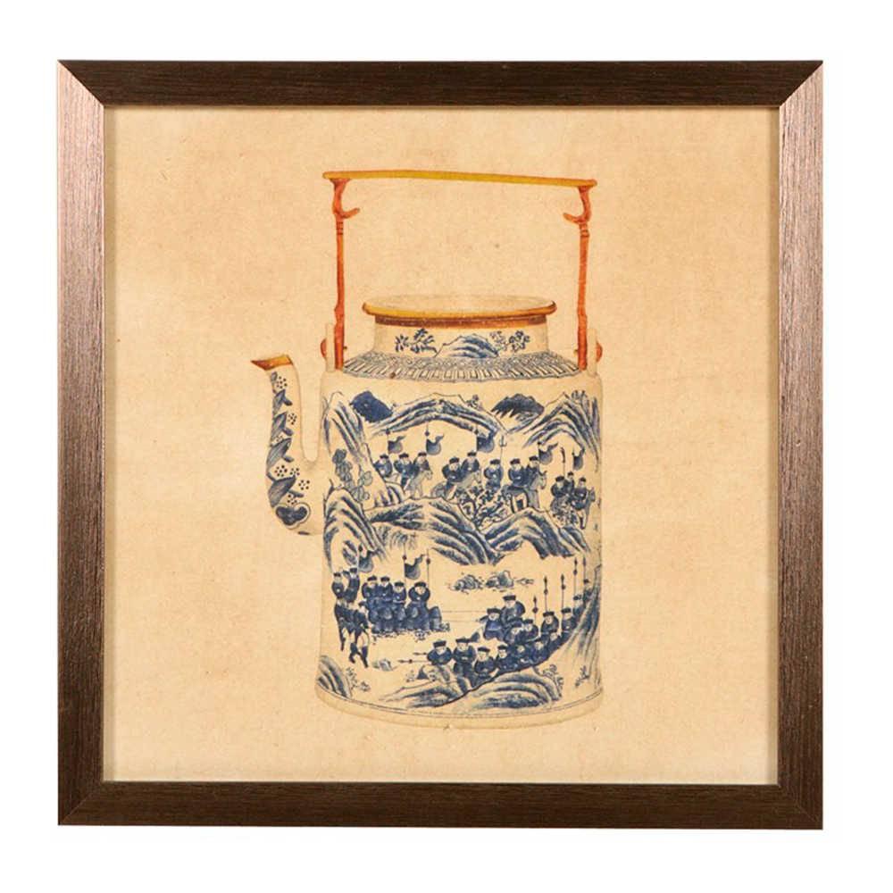 Quadro Chaleira de Porcelana Chineses em Madeira - 33x33 cm