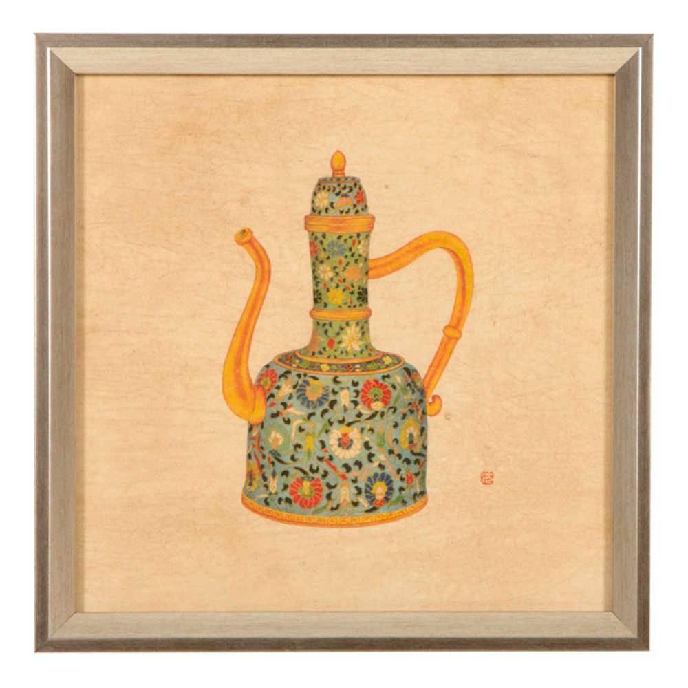 Quadro Chaleira de Porcelana Flores Coloridas em Madeira - 33x33 cm