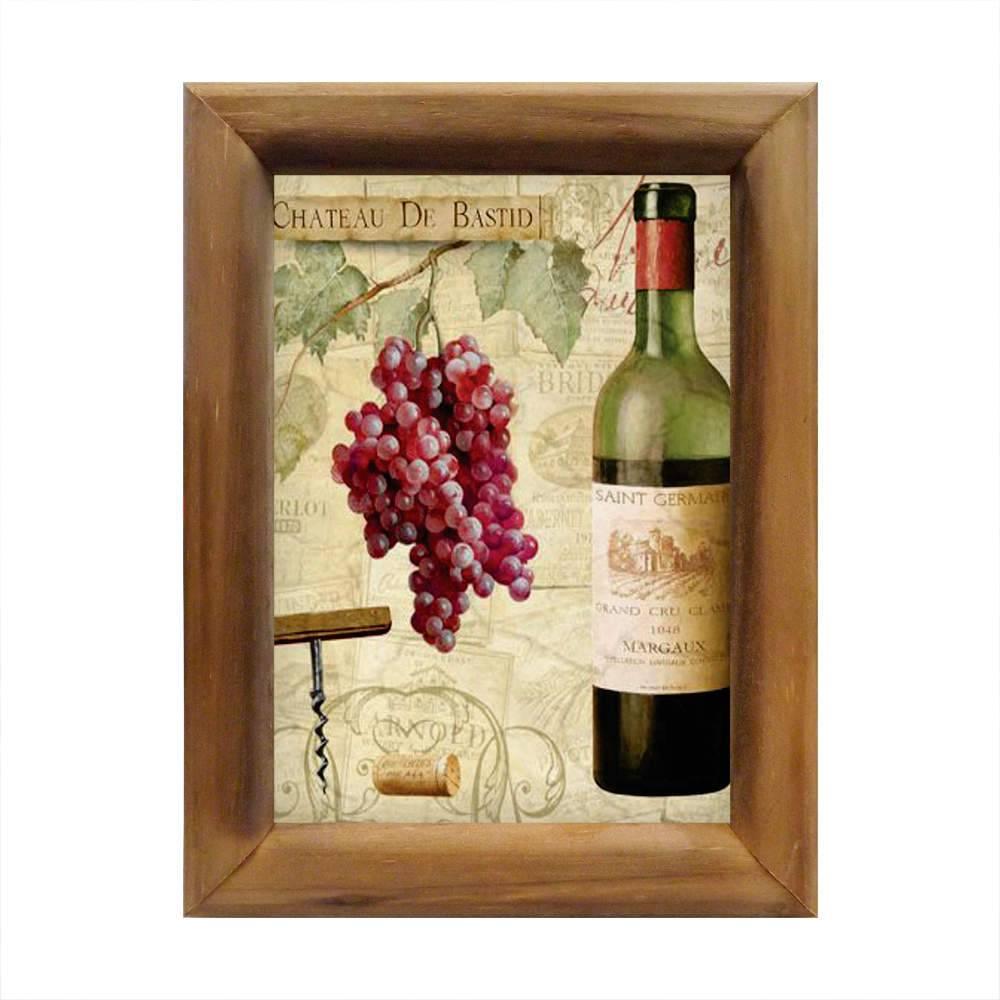 Quadro Chateau De Bastid Vinho em Madeira - 26x20 cm