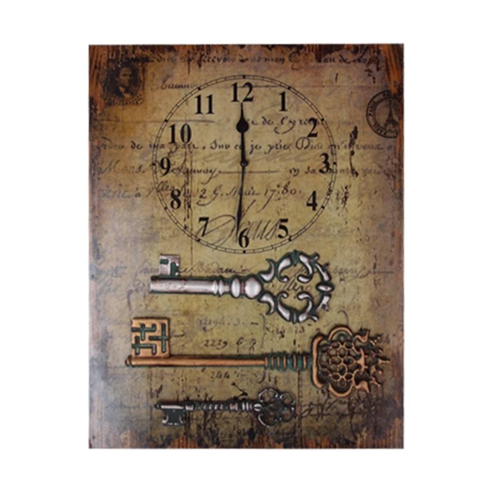 Tela Chaves Antigas - com Relógio - Marrom em Madeira - 54x40 cm
