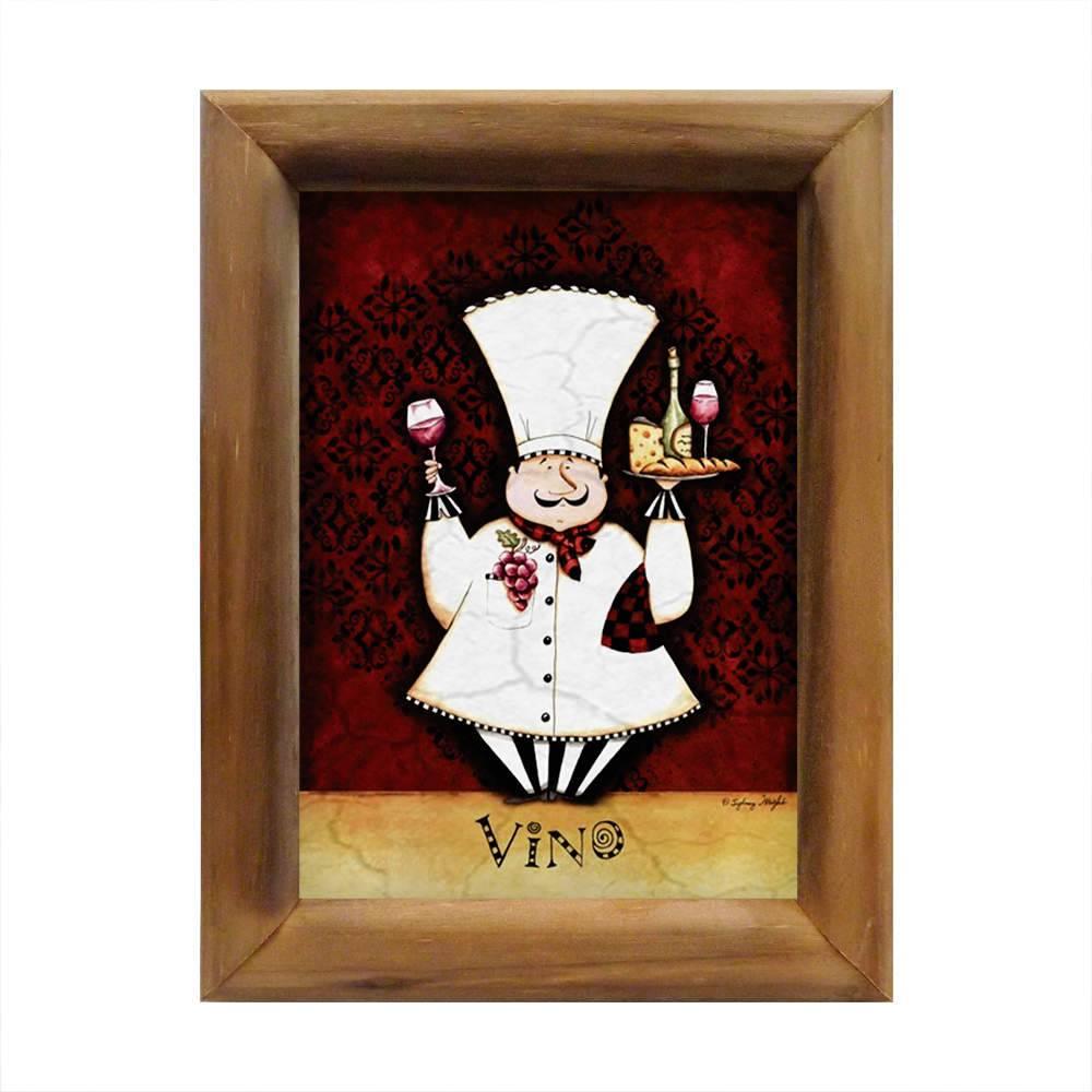 Quadro Chef de Cozinha - Vinho - em Madeira - 26x20 cm