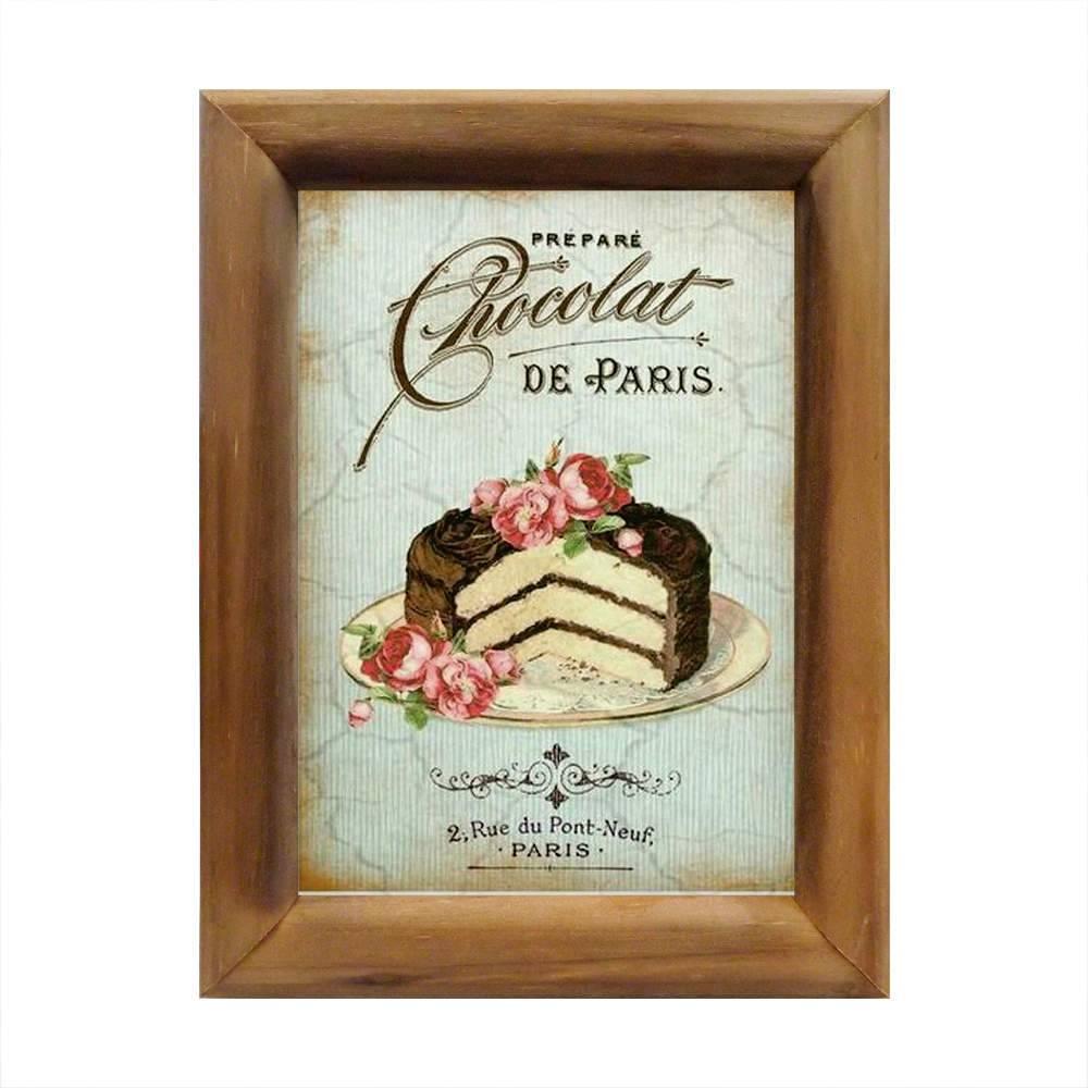Quadro Chocolat de Paris Vintage em Madeira - 26x20 cm