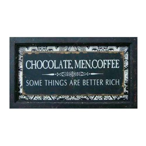 Quadro Chocolate Men Coffee em Madeira - 34x19 cm