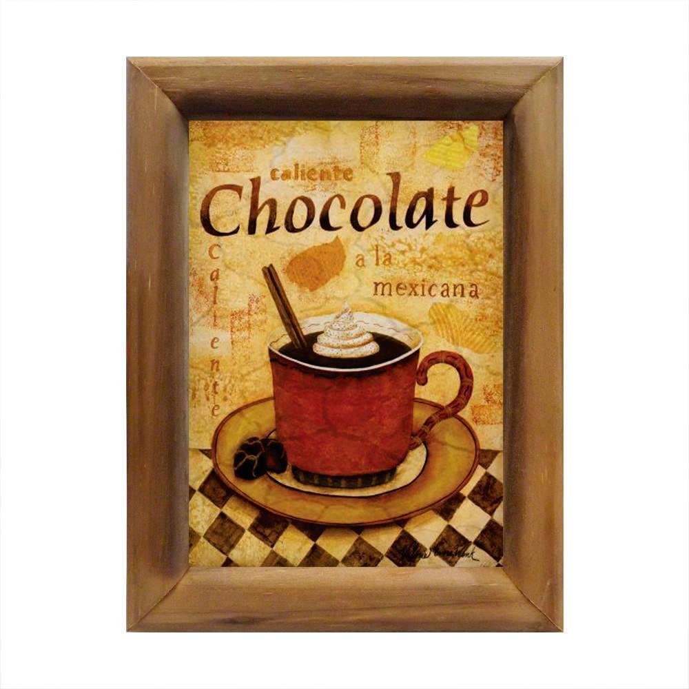 Quadro Chocolate Quente Mexicano em Madeira - 26x20 cm