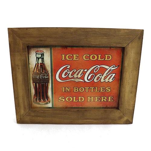 Quadro Coca Cola Ice Cold - Madeira / Impressão Digital - 27,5x21,5 cm