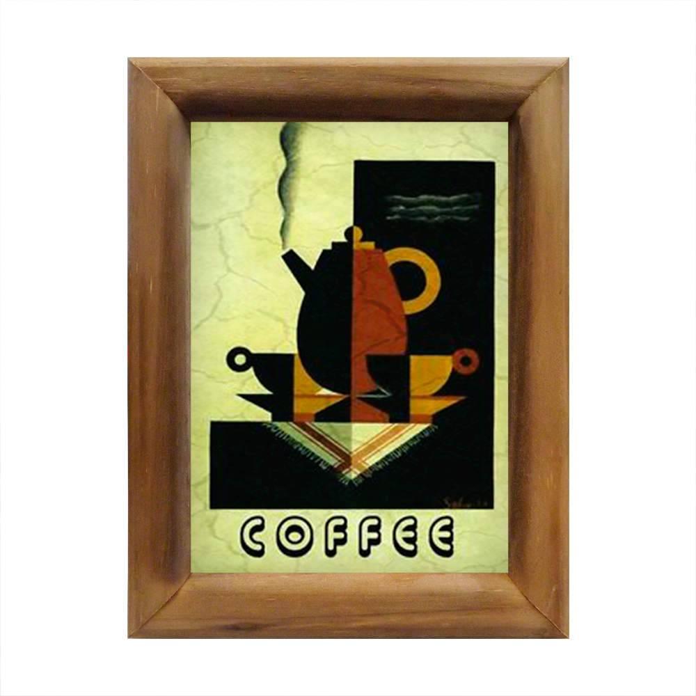Quadro Coffe Bule e Xícaras com Moldura em Madeira - 26x20 cm