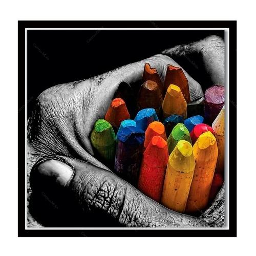 Quadro Colored Pencils Hands Impresso em MDF - 50x50 cm