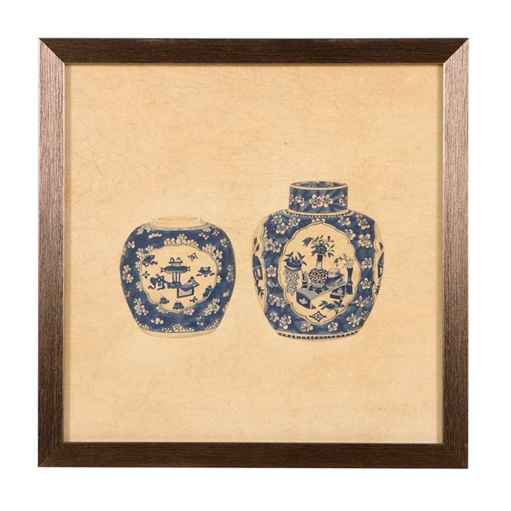 Quadro Conjunto de Vasos de Porcelana Azul e Bege em Madeira - 33x33 cm