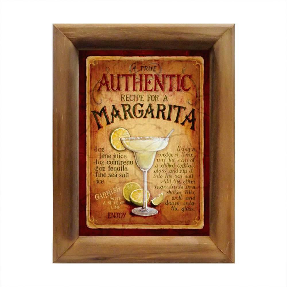Quadro Coquetel Margarita em Madeira - 26x20 cm